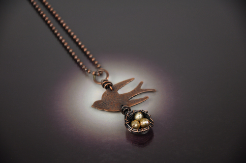 Etched Bird with Nest Necklace