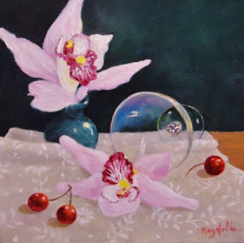 Still Life With Orchids And Cherries