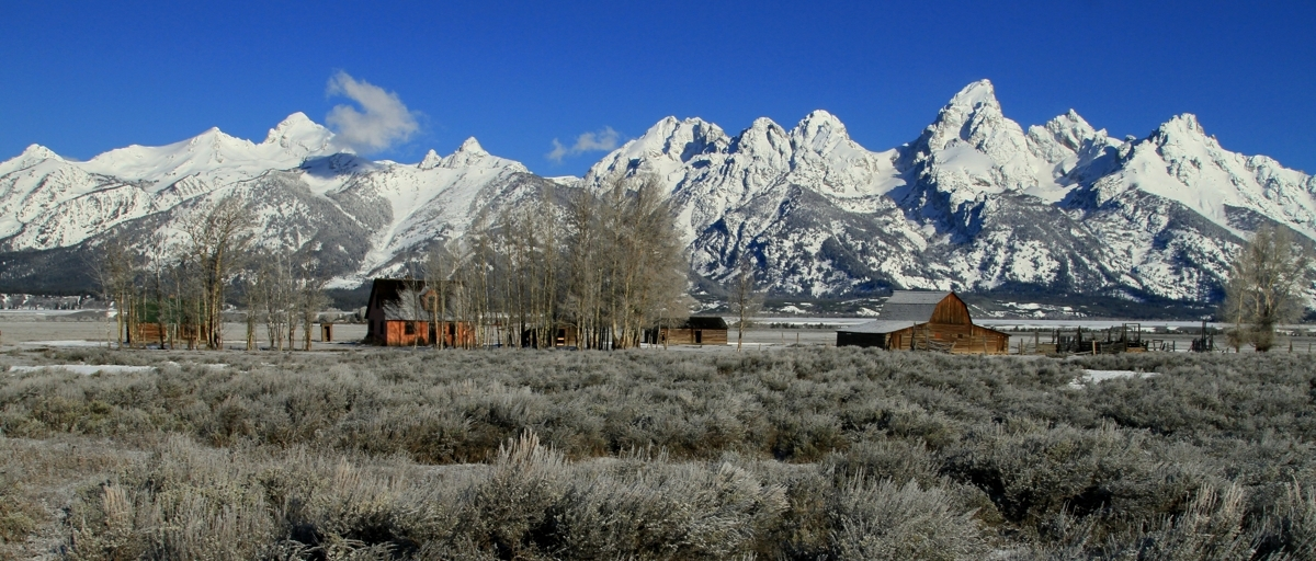 Barn and Teton mountains (large view)