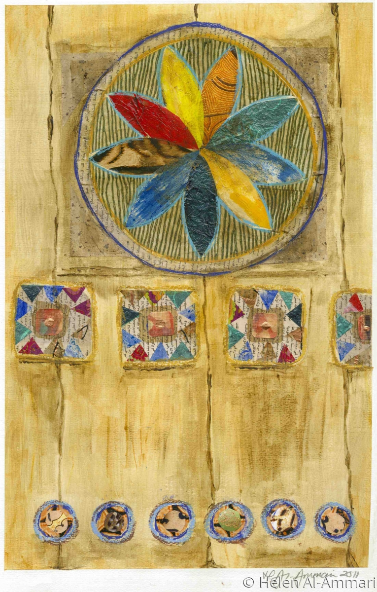 A contemporary mixed media painting of a Qasimi Door Panel on paper (large view)