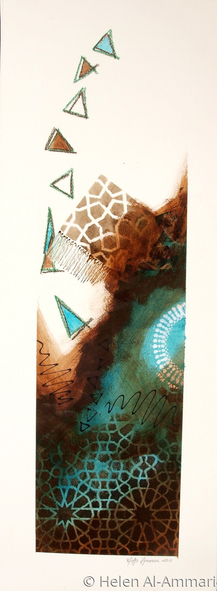 A contemporary mixed media painting in blues, grays and brown,  arabesque motif and design. (large view)