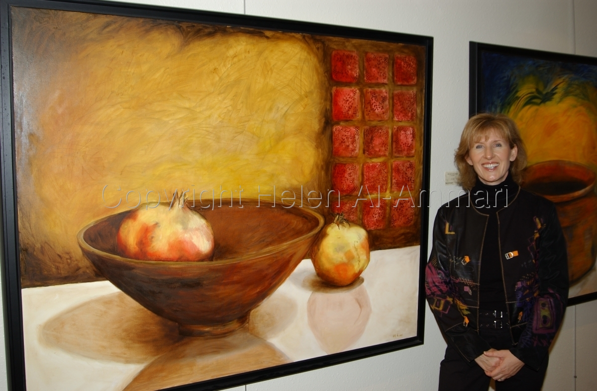 oil painting, still life in yellows, reds and browns. (large view)