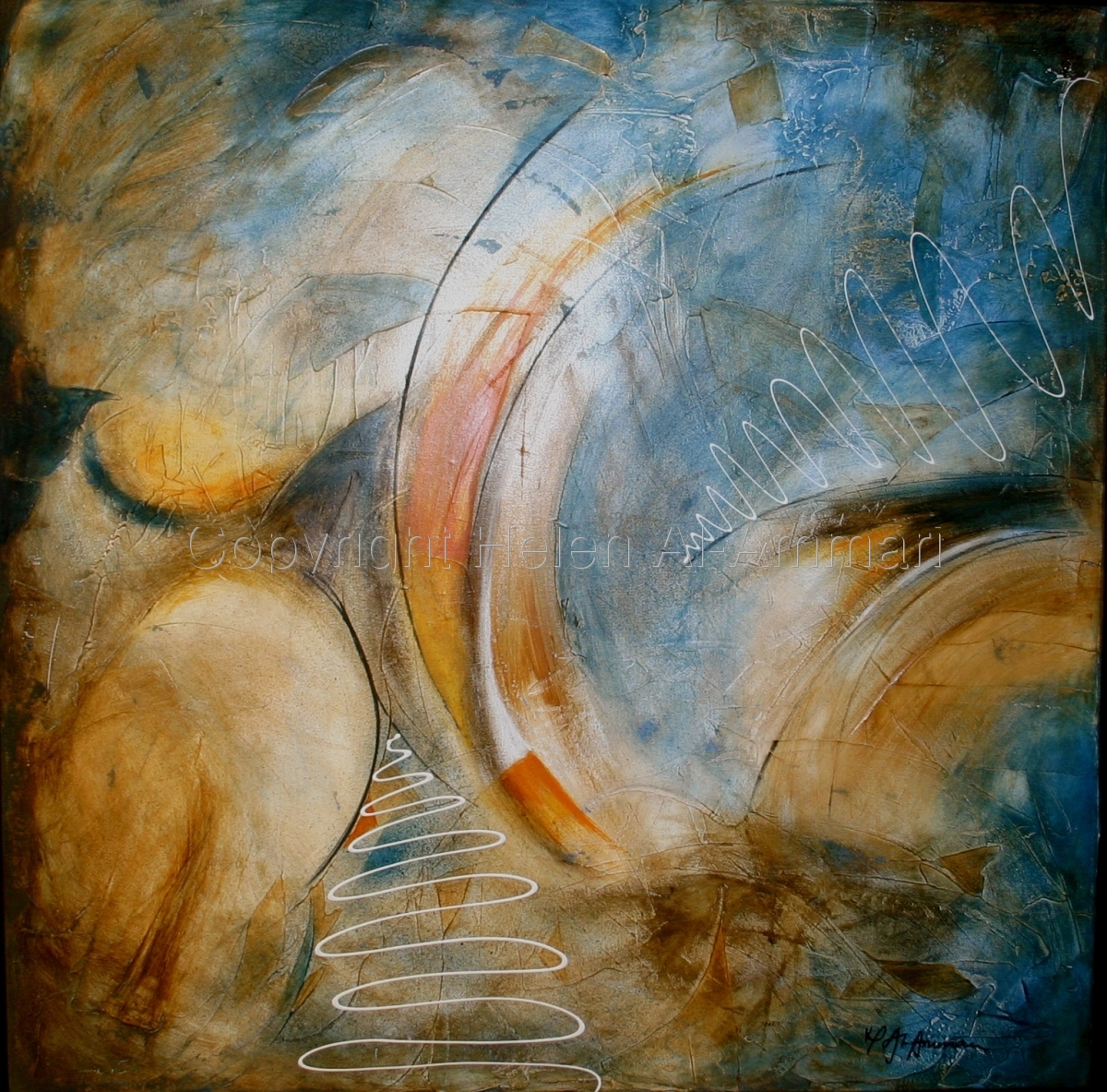 Abstract painting on blues yellows and oranges. (large view)
