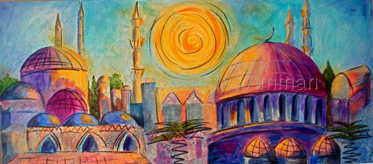 Colourful, blue, turquoise, yellow, orange, pink, Arabian city scene (large view)