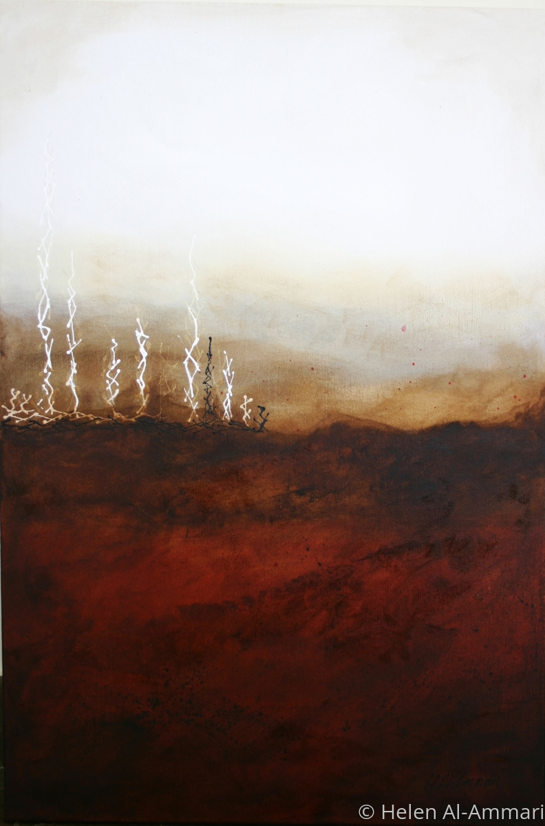 Abstract, landscape, red, brown, mixed media (large view)