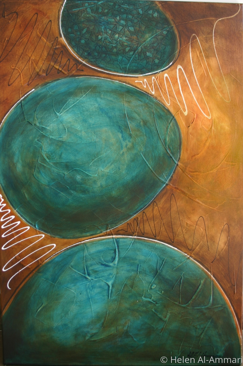 Abstract, mixed media, turquoise, ochre, gray. (large view)