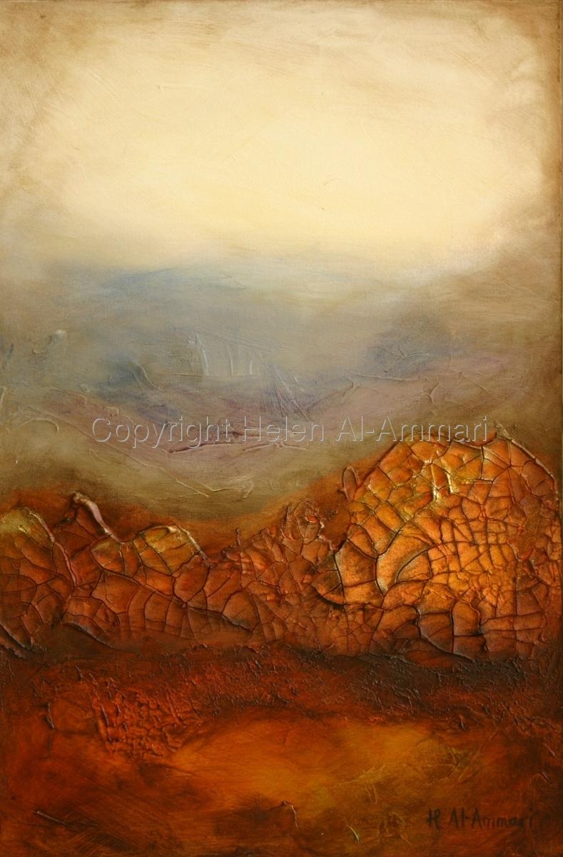 Mixed Media, desertscape, yellows, orange, sienna, brown (large view)