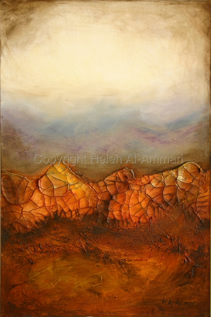Abstract, mixed Media, desertscape, yellow, orange, sienna, brown (large view)