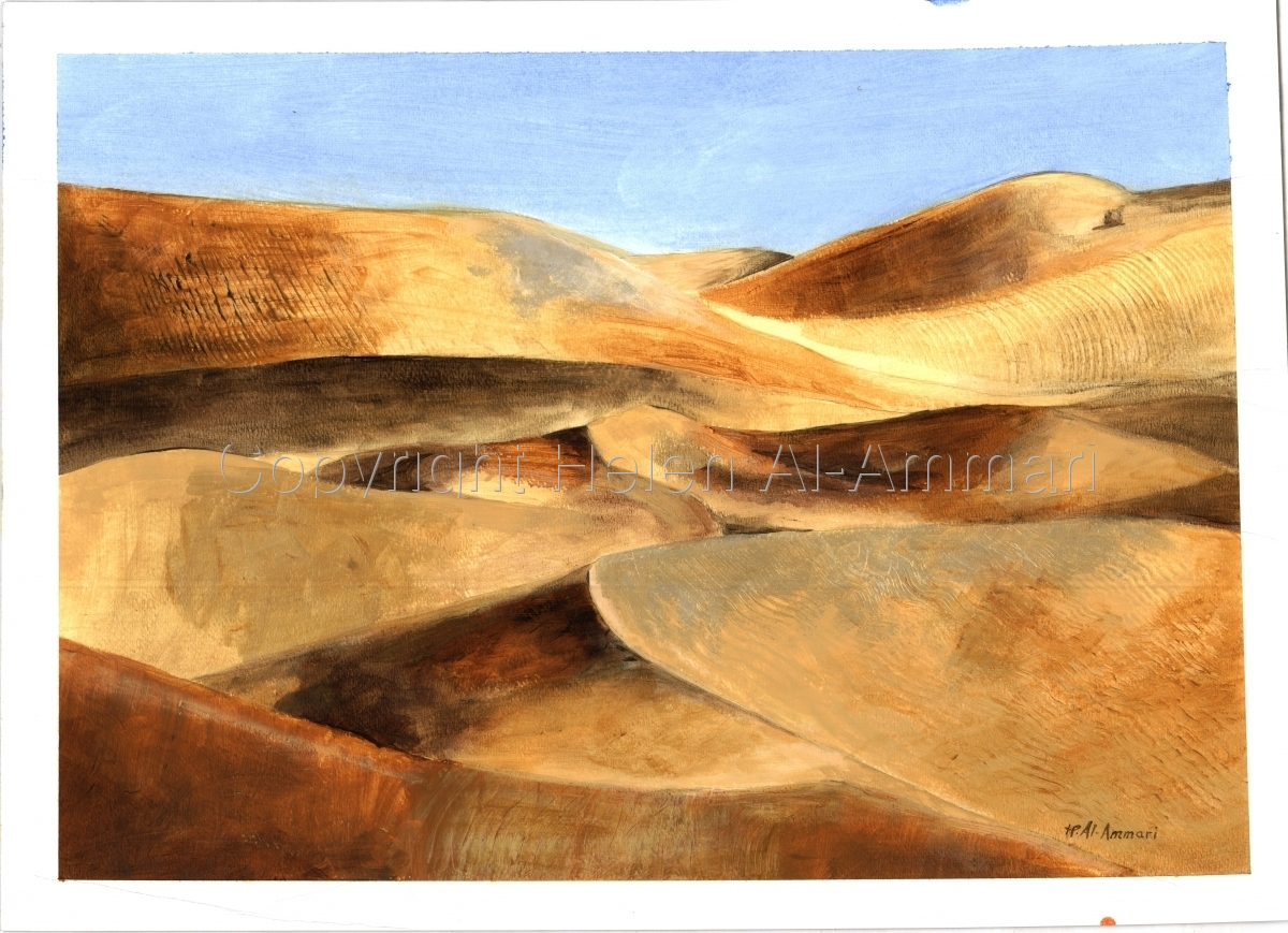 Mixed Media, Paper, Sand dunes, dunescape, yellow, golden (large view)