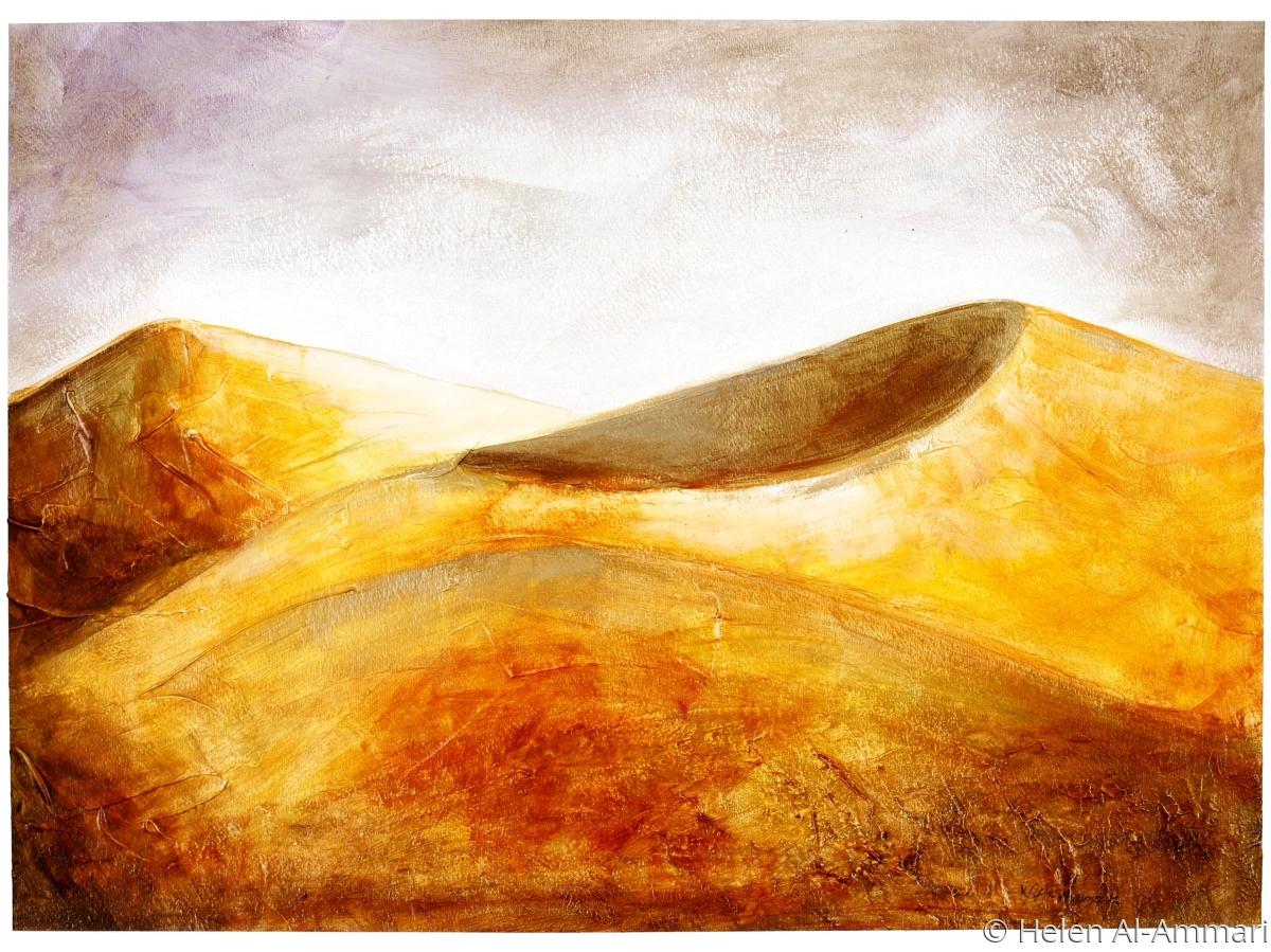 Mixed Media, paper, sand dunes golden, yellow (large view)
