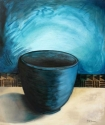 Black pot painting in turquoise and black. (thumbnail)