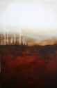 Abstract, landscape, red, brown, mixed media (thumbnail)