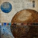 Arabesque, arabian, arab art, mixed media, blue and brown, absract (thumbnail)