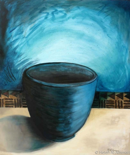 Black pot painting in turquoise and black. (large view)