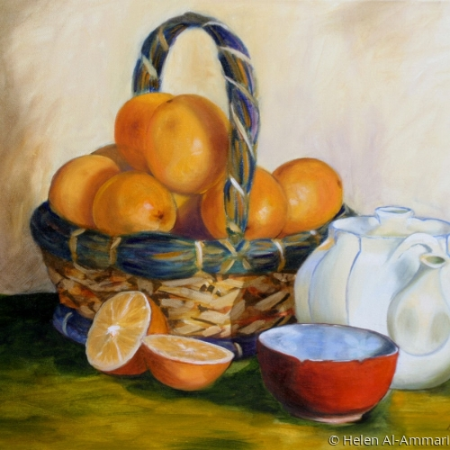 Colorful still life of oranges (large view)