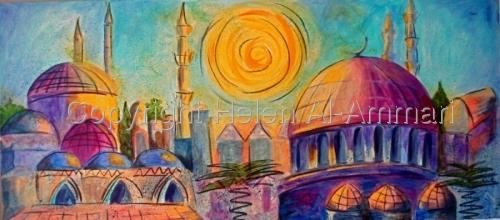 Colourful, blue, turquoise, yellow, orange, pink, Arabian city scene (thumbnail)