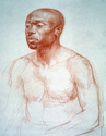 male portrait, portrait, drawing, red chalk, helen uger, sanguine - Figurative Drawing