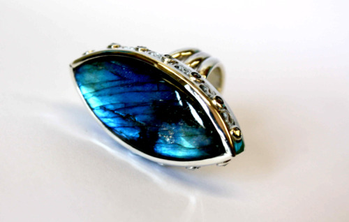 Labradorite and marcasite ring
