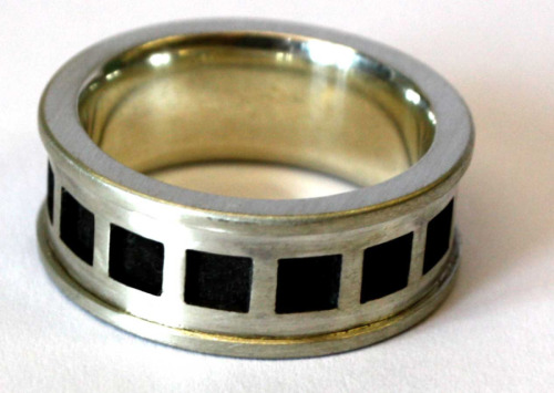 Silver ring with squares