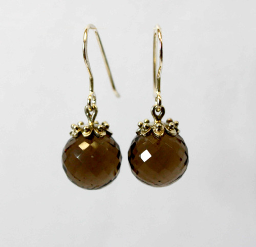 Smoky quartz ball earrings