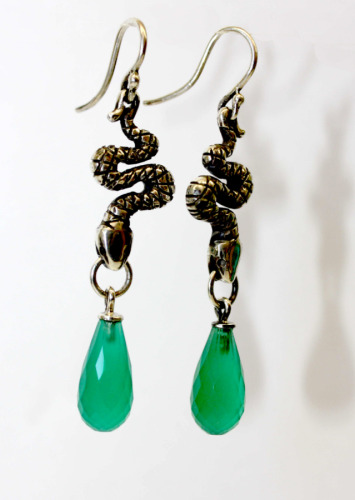Silver snake earrings with agate