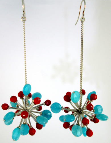 Blue and red pompoms