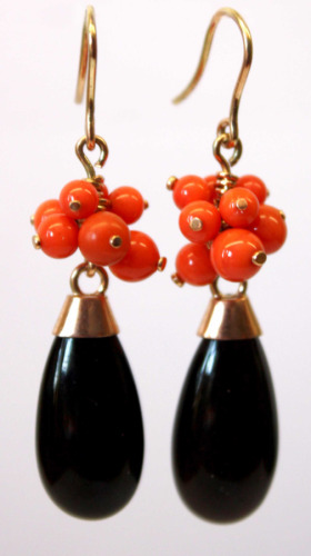 Gold drops with coral and onyx