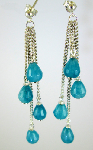 Silver and dyed jade drops