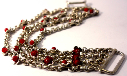 Silver floral bracelet with coral