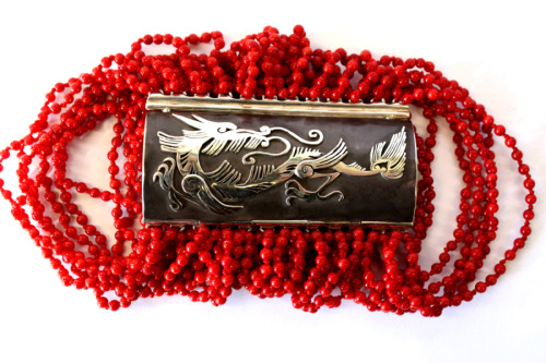 Silver and coral dragon bracelet