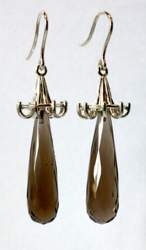 Silver smoky quartz drop earrings