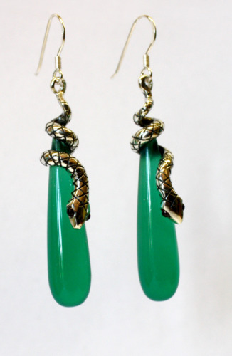 Silver snake earrings with green agate