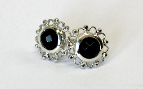 Silver and onyx studs