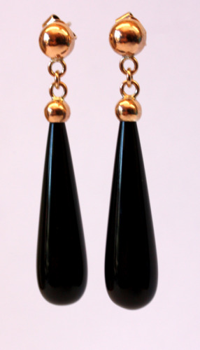 Rose gold and onyx drops