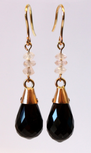 Rose gold and onyx drops with rose quartz