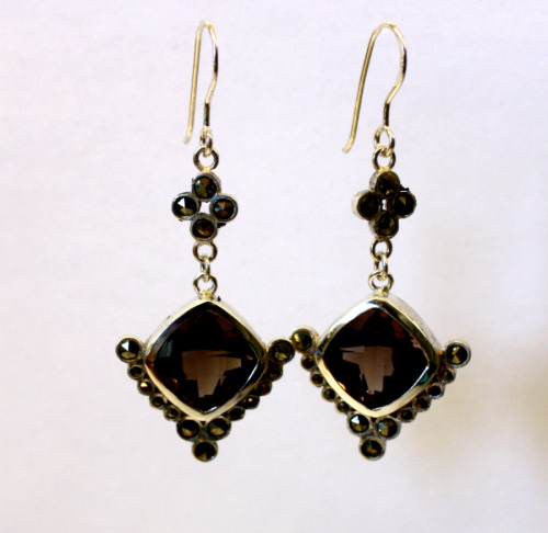 Silver and smoky quartz earrings with marcasite