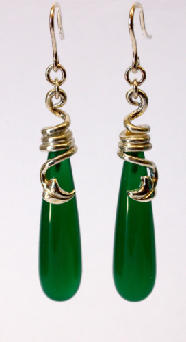 Silver and green agate leaf earrings