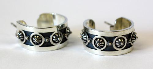 Silver rosette hoops