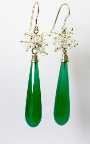 Silver drops with green agate and crystal beads