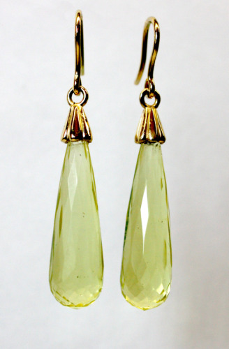 Gold and lemon quartz drops