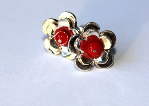 Silver and coral flower studs