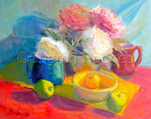 Peonies and Yellow Bowl