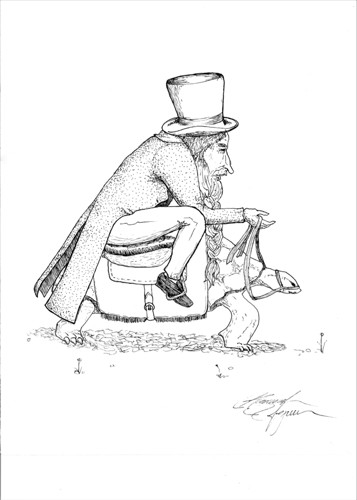 A Man Who Has Lived A Long Time, and Has A Long Nose, A Long Beard, A Long Hat, and A Long Coat, Taking A Long Journey Made Lounger By His Noble Steed