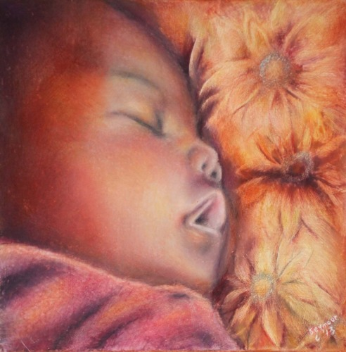 African American baby sleeping on a flowered pillow is scratchboard art colored with pan pastel and wax pastel.
