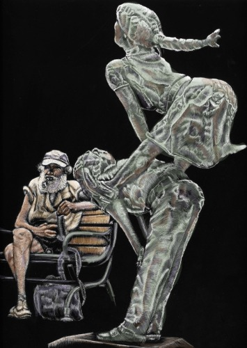 """A """"old"""" derelict sitting in front of a Vermont statue of a boy jumping over a little girl. (large view)"""