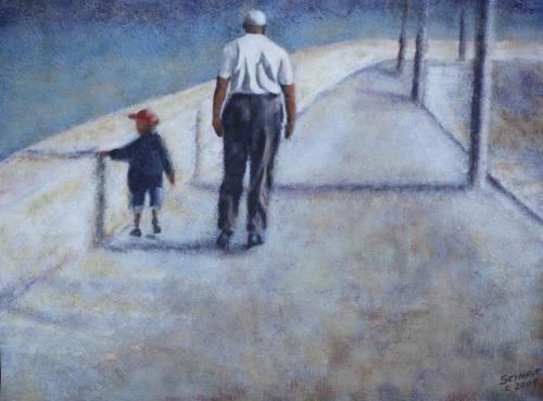 Walking with Grandad (Sold $4000)