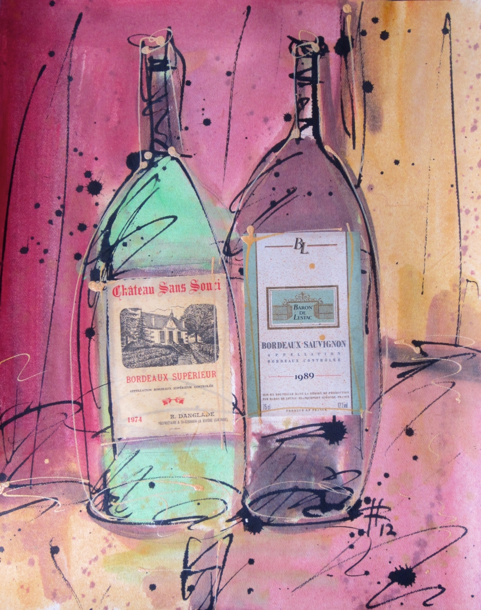 Bordeaux Superieur 2012 Original Painting on Paper by Ryan Hopkins the Abstract Artist