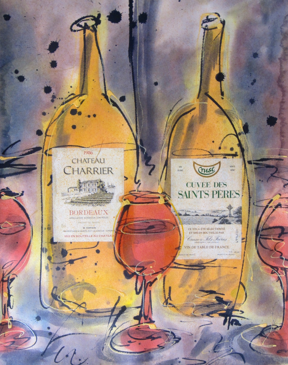 Chateau Charrier 2012 Original Painting on Paper by Ryan Hopkins the Abstract Artist (large view)