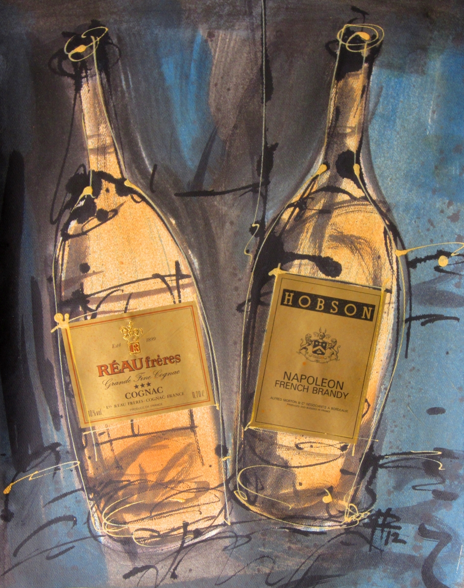 Cognac & Brandy 2012 Original Painting on Paper by Ryan Hopkins the Abstract Artist (large view)