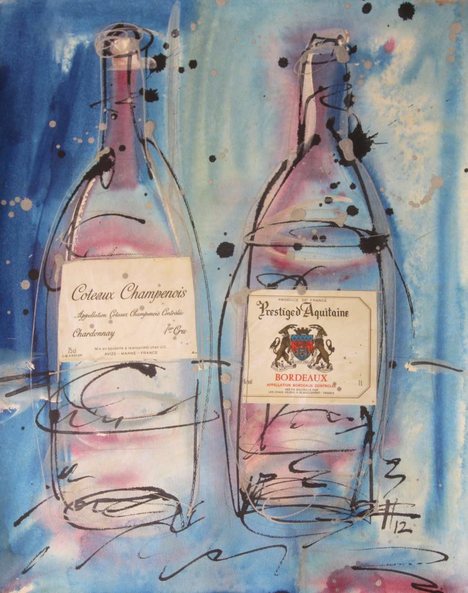 Coteaux Champenois 2012 Original Painting on Paper by Ryan Hopkins the Abstract Artist
